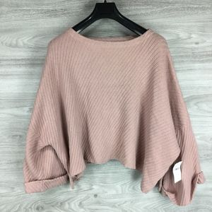 Free People Pink Cutout Cuffed Oversized Sweater